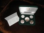 Подарочный набор из 5-ти серебряных монет Евро-2012 в футляре