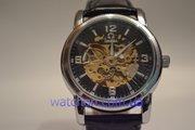 Элитные мужские наручные часы Omega Skeleton (Black Steel), гарантия