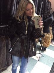 Теплый полушубок куртка из меха канадского бобра